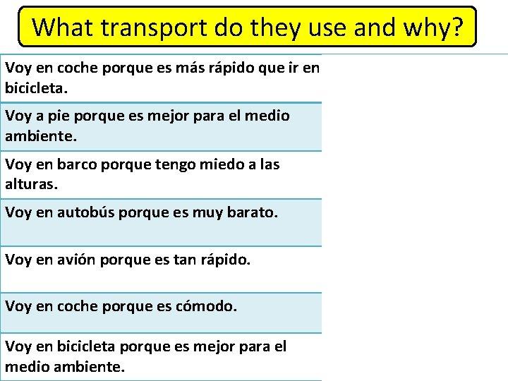 What transport do they use and why? Voy en coche porque es más rápido