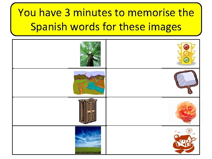 You have 3 minutes to memorise the Spanish words for these images árbol semáforo