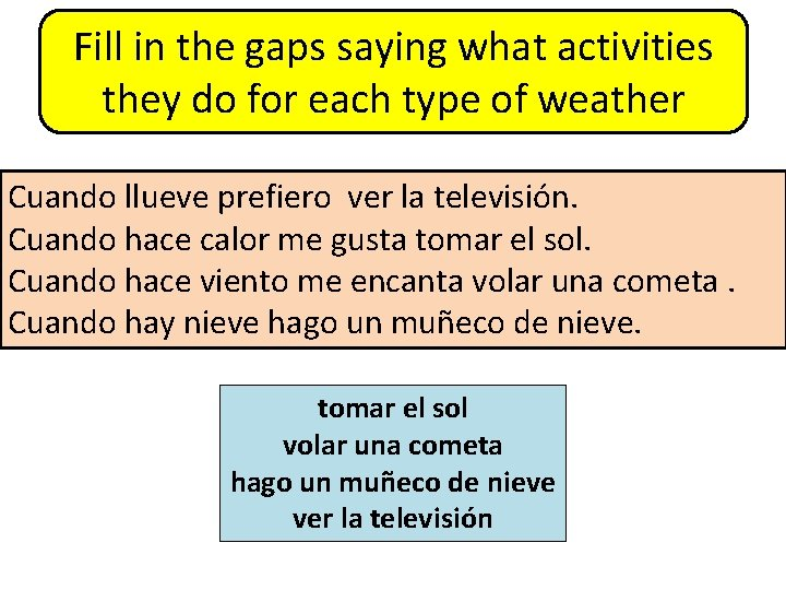 Fill in the gaps saying what activities they do for each type of weather
