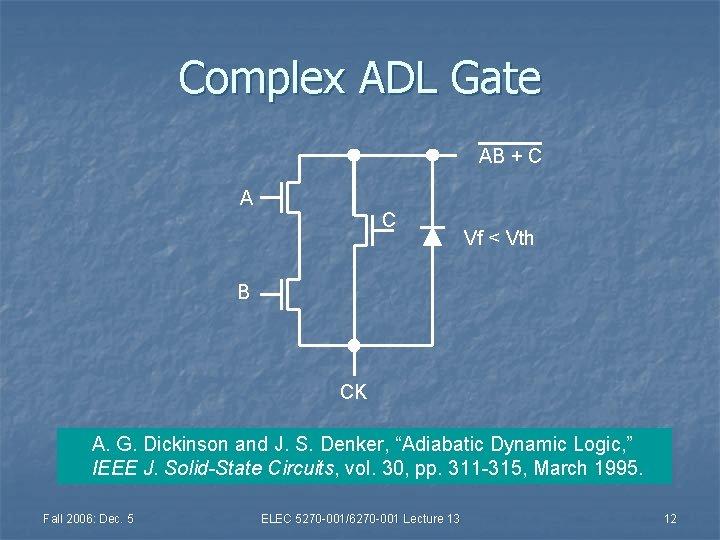 Complex ADL Gate AB + C A C Vf < Vth B CK A.