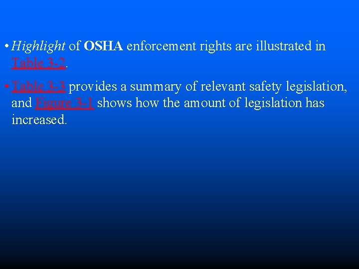 • Highlight of OSHA enforcement rights are illustrated in Table 3 -2. •