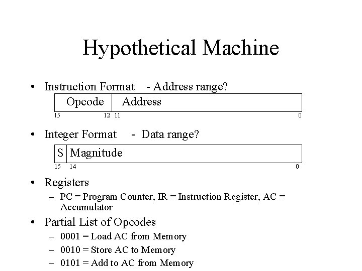 Hypothetical Machine • Instruction Format - Address range? Opcode Address 15 12 11 0