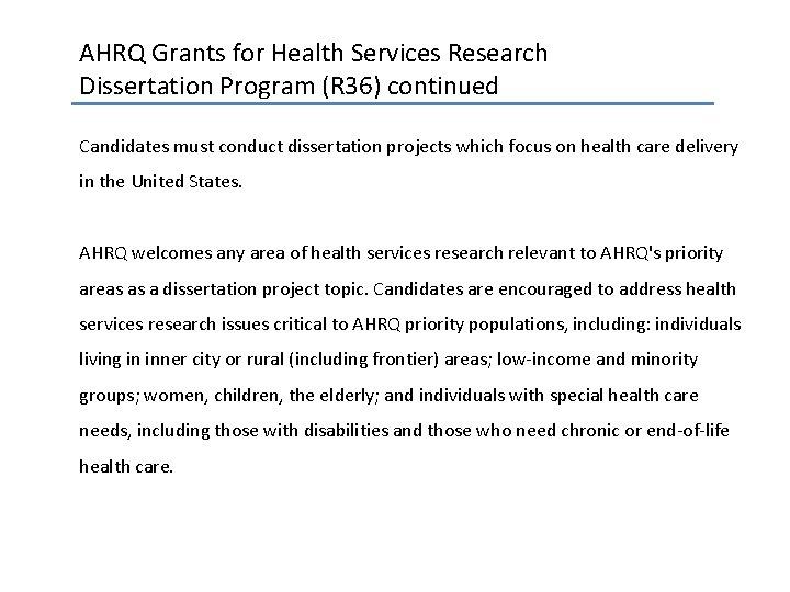 Ahrq dissertation grant help with an essay