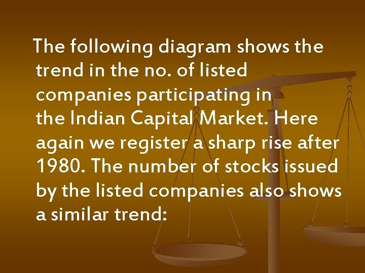 The following diagram shows the trend in the no. of listed companies participating in
