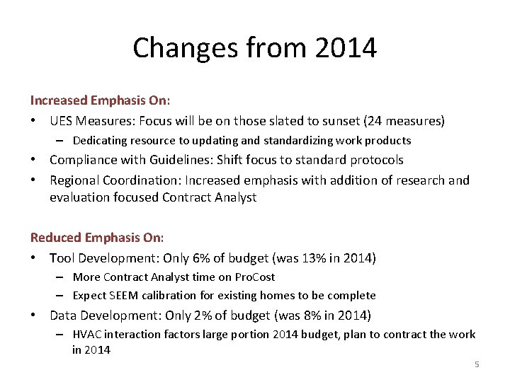 Changes from 2014 Increased Emphasis On: • UES Measures: Focus will be on those