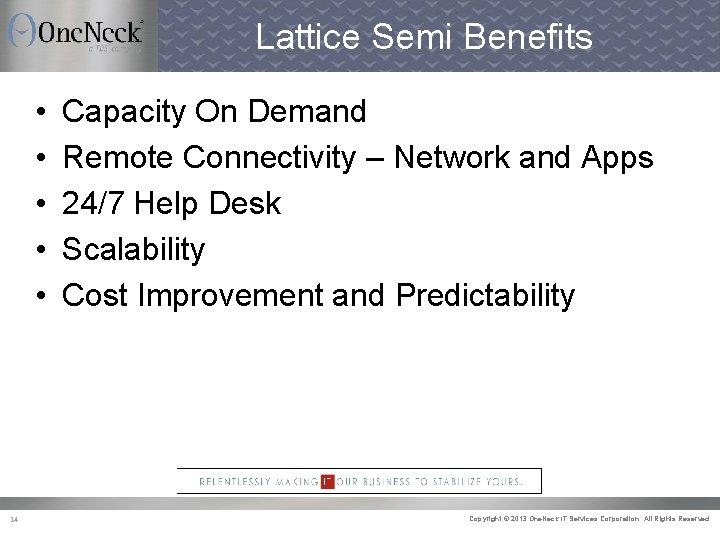 Lattice Semi Benefits • • • 14 Capacity On Demand Remote Connectivity – Network
