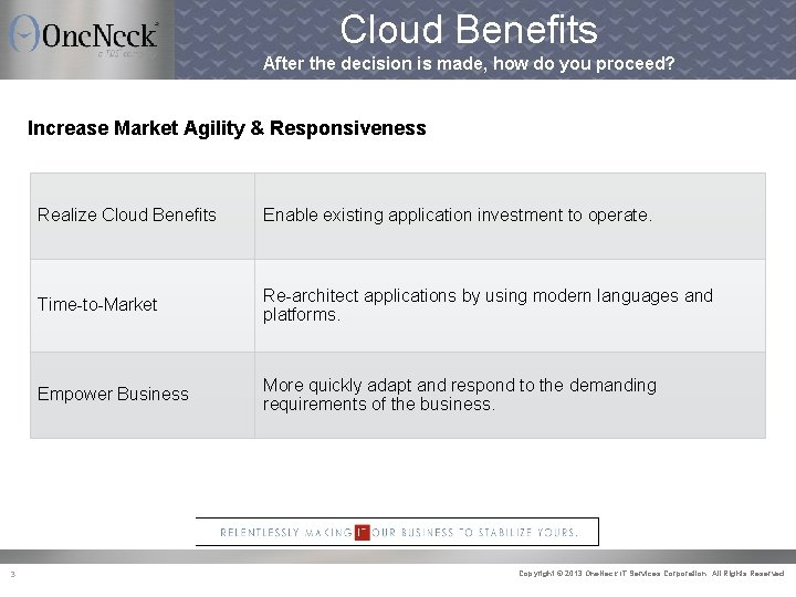 Cloud Benefits After the decision is made, how do you proceed? Increase Market Agility