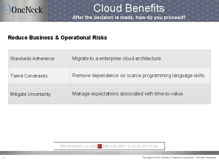 Cloud Benefits After the decision is made, how do you proceed? Reduce Business &
