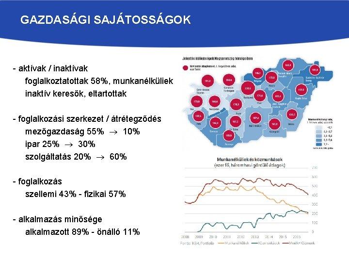GAZDASÁGI SAJÁTOSSÁGOK - aktívak / inaktívak foglalkoztatottak 58%, munkanélküliek inaktív keresők, eltartottak - foglalkozási