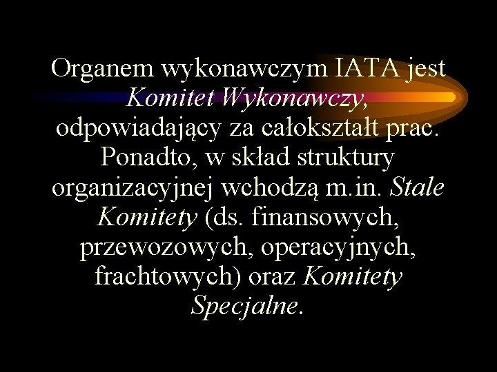 Organem wykonawczym IATA jest Komitet Wykonawczy, odpowiadający za całokształt prac. Ponadto, w skład struktury