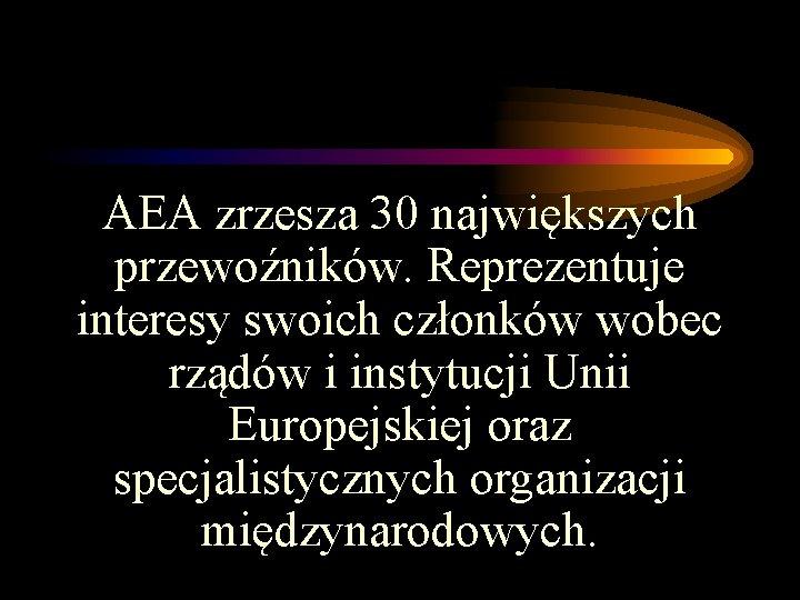 AEA zrzesza 30 największych przewoźników. Reprezentuje interesy swoich członków wobec rządów i instytucji Unii