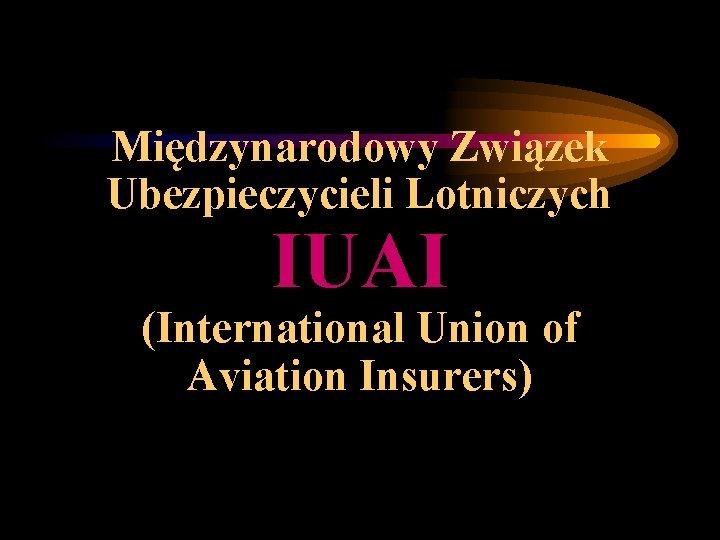 Międzynarodowy Związek Ubezpieczycieli Lotniczych IUAI (International Union of Aviation Insurers)