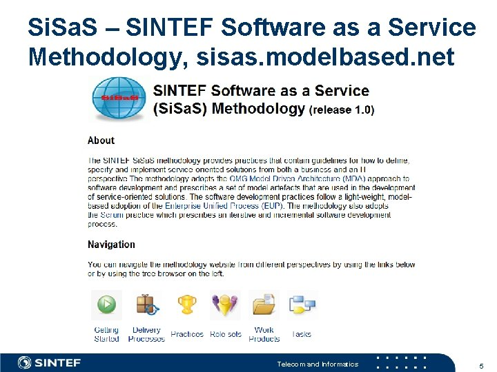 Si. Sa. S – SINTEF Software as a Service Methodology, sisas. modelbased. net Telecom