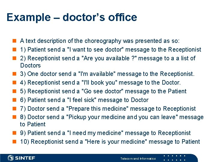 Example – doctor's office A text description of the choreography was presented as so: