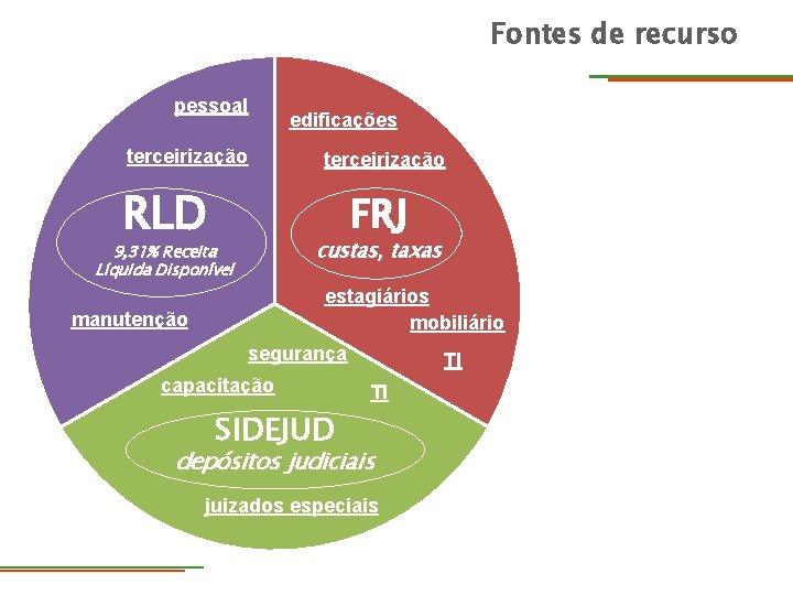 Fontes de recurso pessoal terceirização RLD edificações terceirização FRJ custas, taxas 9, 31% Receita