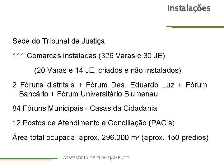 Instalações Sede do Tribunal de Justiça 111 Comarcas instaladas (326 Varas e 30 JE)