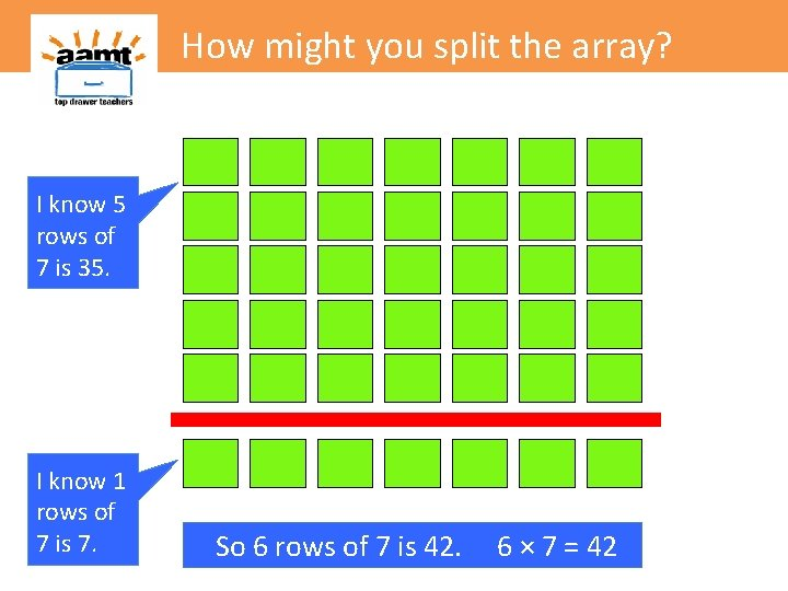 How might you split the array? I know 5 rows of 7 is 35