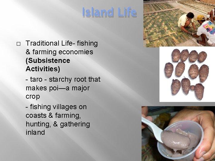 Island Life � Traditional Life- fishing & farming economies (Subsistence Activities) - taro -