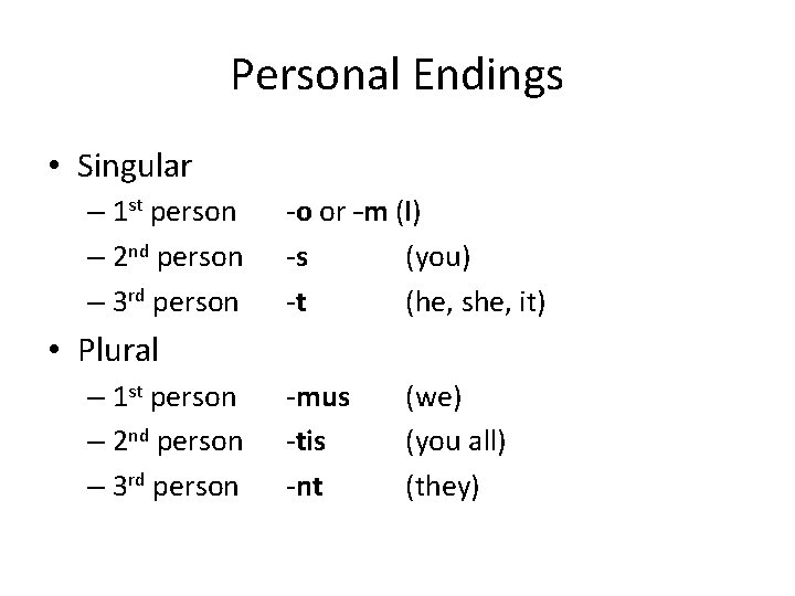 Personal Endings • Singular – 1 st person – 2 nd person – 3