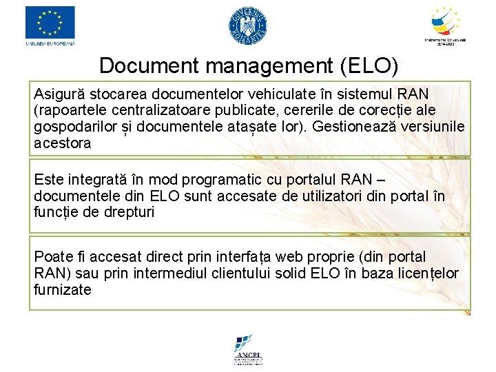 Document management (ELO) Asigură stocarea documentelor vehiculate în sistemul RAN (rapoartele centralizatoare publicate, cererile