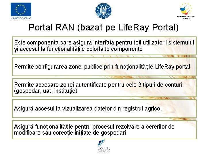 Portal RAN (bazat pe Life. Ray Portal) Este componenta care asigură interfața pentru toți