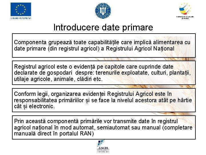 Introducere date primare Componenta grupează toate capabilitățile care implică alimentarea cu date primare (din