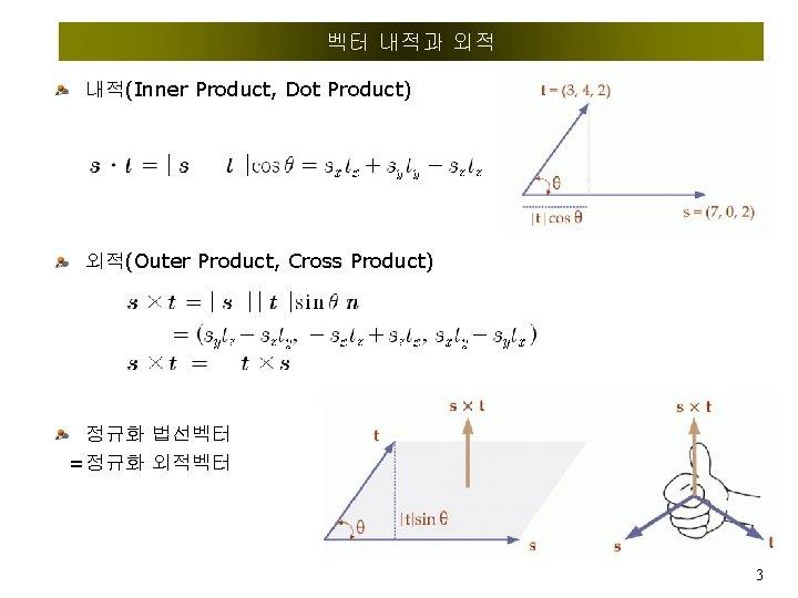 벡터 내적과 외적 내적(Inner Product, Dot Product) 외적(Outer Product, Cross Product) 정규화 법선벡터 =정규화