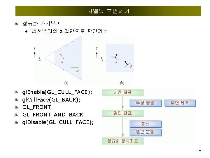 지엘의 후면제거 정규화 가시부피 • 법선벡터의 z 값만으로 판단가능 gl. Enable(GL_CULL_FACE); gl. Cull. Face(GL_BACK);
