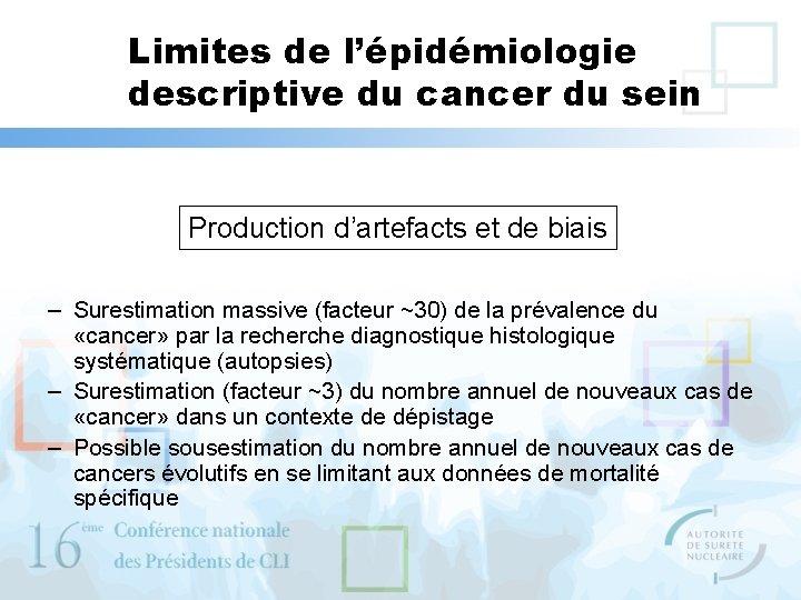 Limites de l'épidémiologie descriptive du cancer du sein Production d'artefacts et de biais –