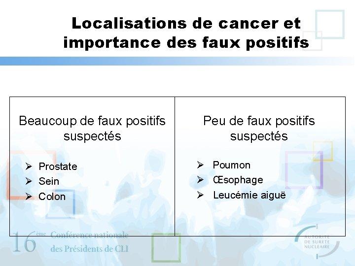 Localisations de cancer et importance des faux positifs Beaucoup de faux positifs suspectés Ø