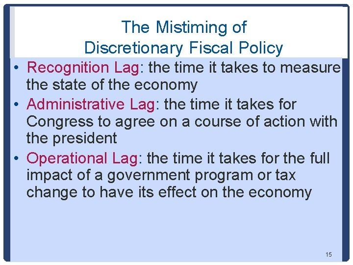 The Mistiming of Discretionary Fiscal Policy • Recognition Lag: the time it takes to