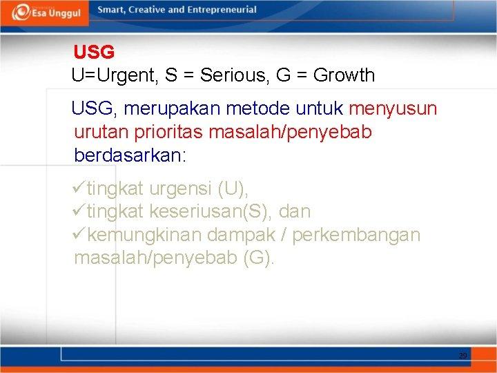 USG U=Urgent, S = Serious, G = Growth USG, merupakan metode untuk menyusun urutan