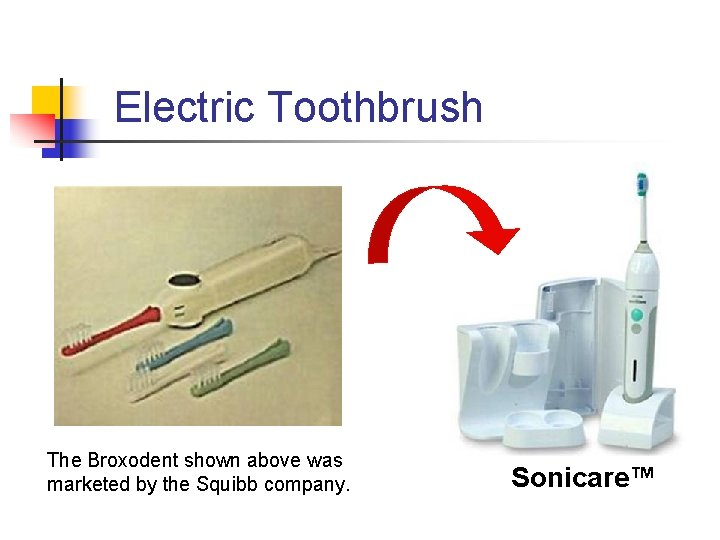 Electric Toothbrush The Broxodent shown above was marketed by the Squibb company. Sonicare™