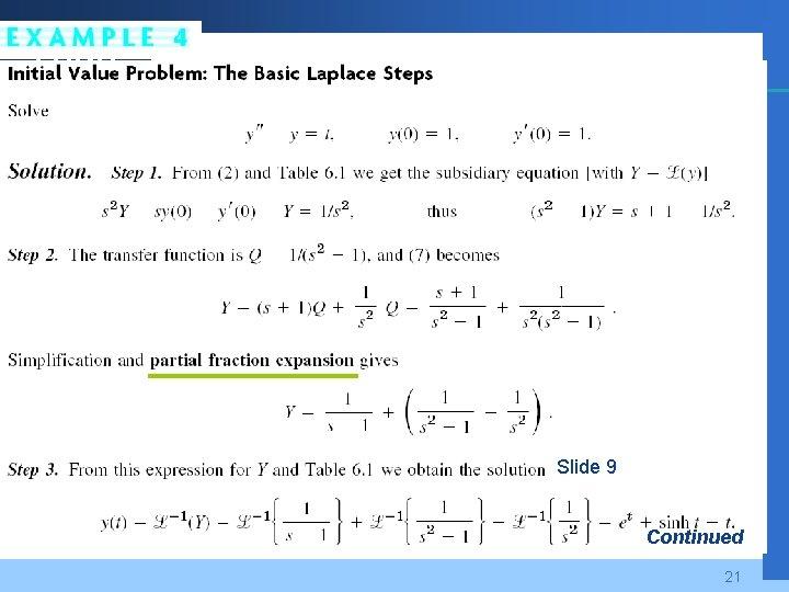Company LOGO Slide 9 Continued 21