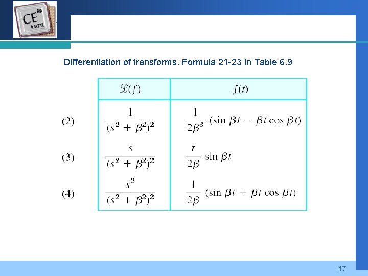 Company LOGO Differentiation of transforms. Formula 21 -23 in Table 6. 9 47