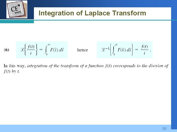 Company LOGO Integration of Laplace Transform 50