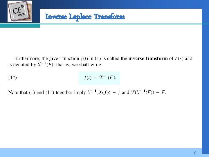 Company LOGO Inverse Laplace Transform 6
