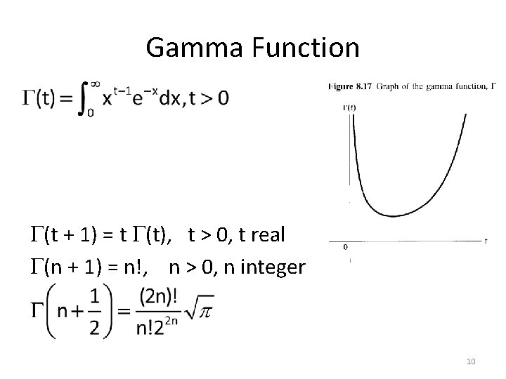 Gamma Function (t + 1) = t (t), t > 0, t real (n