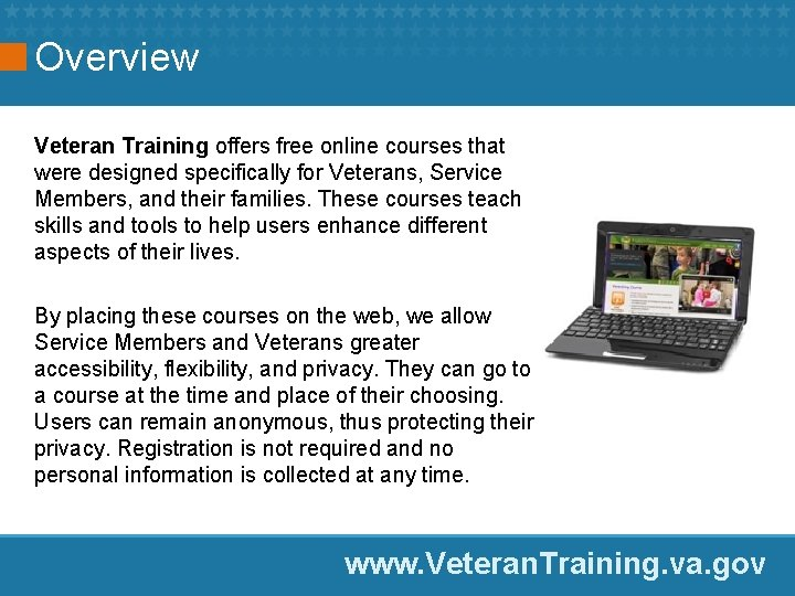Overview Veteran Training offers free online courses that were designed specifically for Veterans, Service