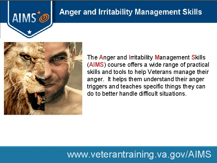 The Anger and Irritability Management Skills (AIMS) course offers a wide range of practical