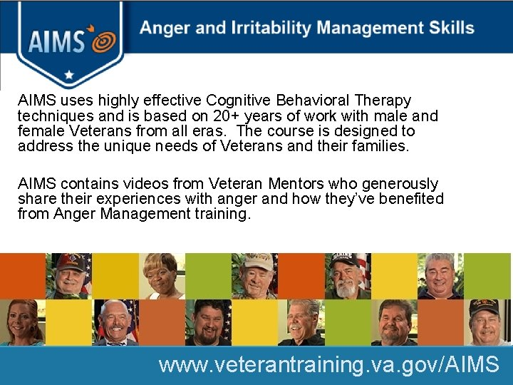 AIMS uses highly effective Cognitive Behavioral Therapy techniques and is based on 20+ years