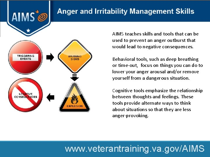 AIMS teaches skills and tools that can be used to prevent an anger outburst