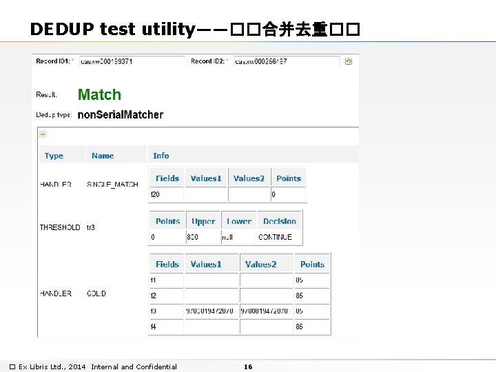 DEDUP test utility——��合并去重�� � Ex Libris Ltd. , 2014 Internal and Confidential 16