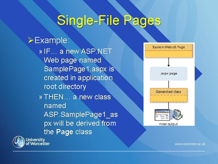 Single-File Pages ØExample: » IF… a new ASP. NET Web page named Sample. Page