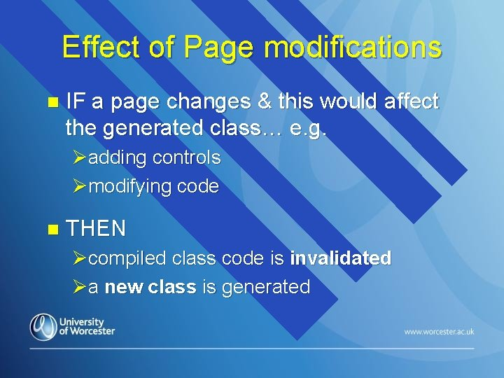 Effect of Page modifications n IF a page changes & this would affect the