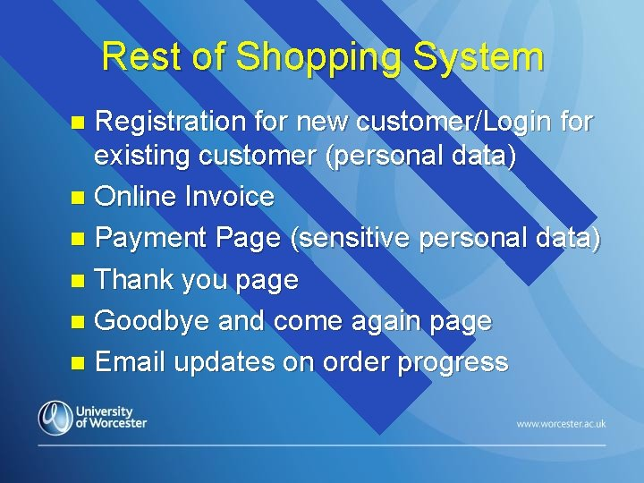 Rest of Shopping System Registration for new customer/Login for existing customer (personal data) n