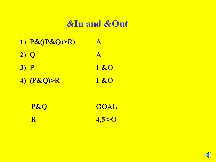 &In and &Out 1) P&((P&Q)>R) A 2) Q A 3) P 1 &O 4)