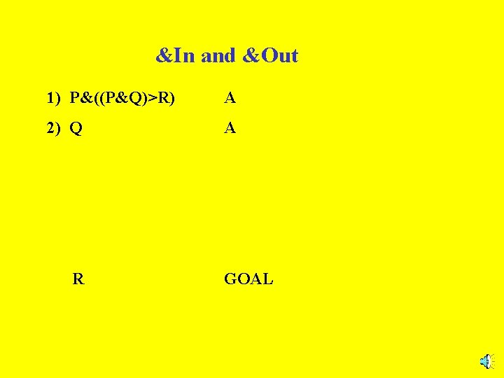 &In and &Out 1) P&((P&Q)>R) A 2) Q A R GOAL
