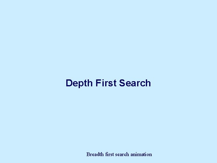 Depth First Search Breadth first search animation