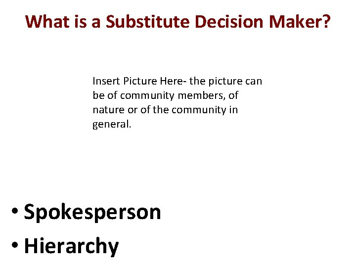 What is a Substitute Decision Maker? Insert Picture Here- the picture can be of